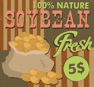 soybean advertisement peas bag icon retro design