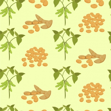 soybean background pea tree icons repeating design