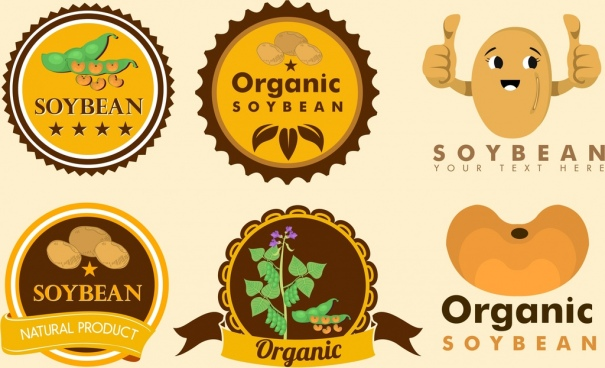 soybean logotypes collection circles stylized icons decor