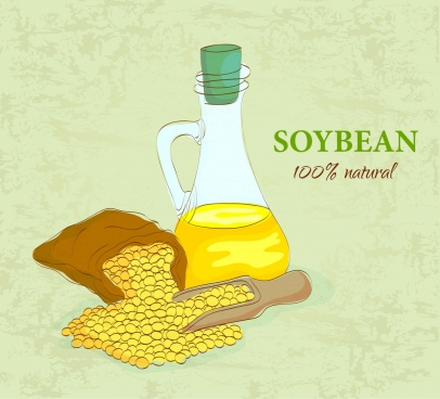 soybean oil advertising multicolored handdrawn sketch