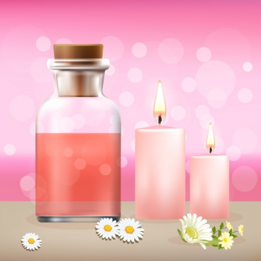spa advertising background candle flower jar icons decor