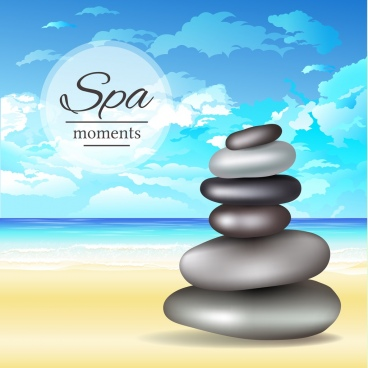 spa advertising background stacked stones blue sea decor