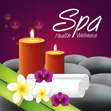 spa advertising banner candle flowers stones icons decor