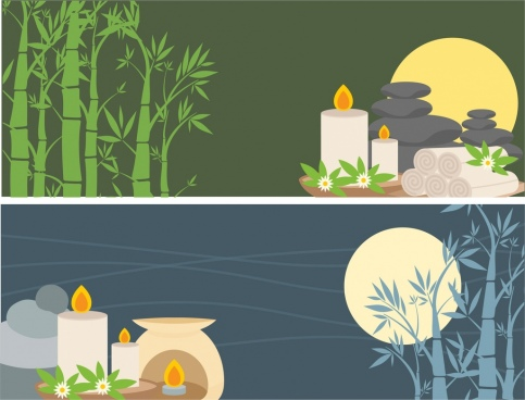 spa advertising banner sets bamboo candles moon decoration