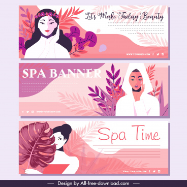 spa advertising flyers colorful classic design woman sketch