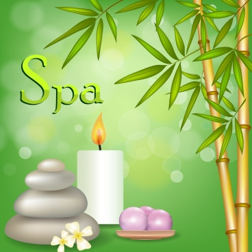 spa advertising green bokeh background bamboo candle icons