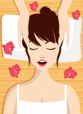 spa background relaxed woman icon cartoon character