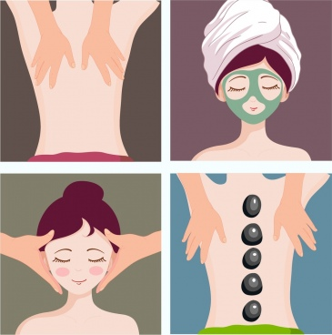 spa background sets caring lady icon cartoon character