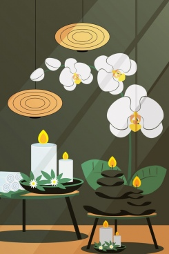 spa background stone candle flowers icons decor