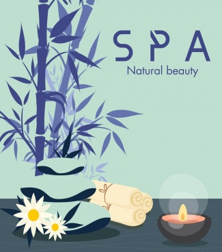 spa banner classical design bamboo stone candle icons