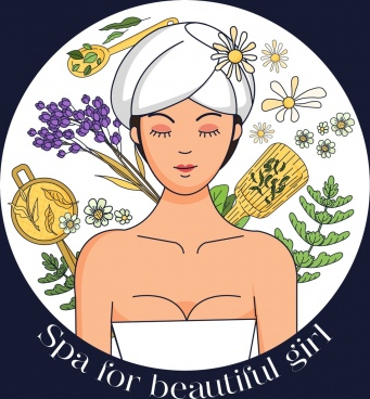 spa banner relaxed lady herb icons circle isolation