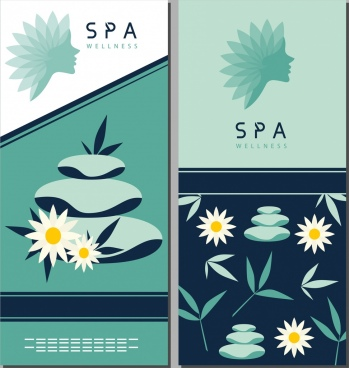 spa design elements flower stone woman face icons