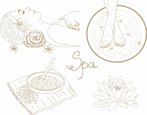 spa design elements handdrawn icons sketch