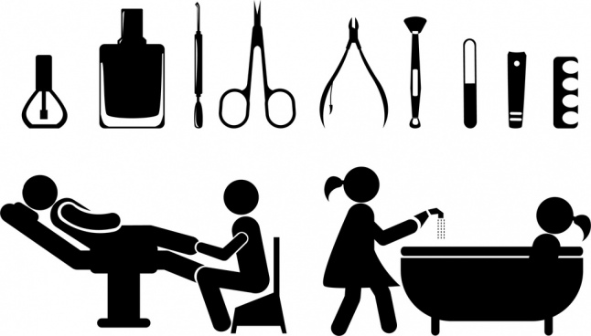 spa icons design elements black silhouette flat design