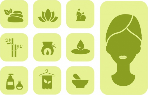 spa icons design elements various symbols dark silhouettes