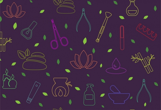spa icons pattern colorful silhouette style repeating decoration