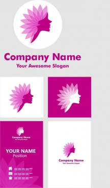 spa logotype design violet decoration flower woman silhouette