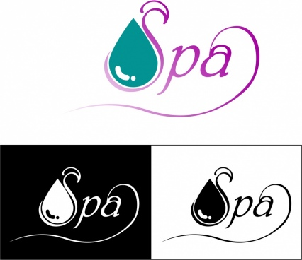 spa logotypes design water drop text decoration