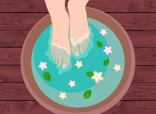spa theme feet soaking in herbal water decoration
