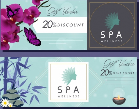 spa voucher templates orchid stone bamboo butterflies icons