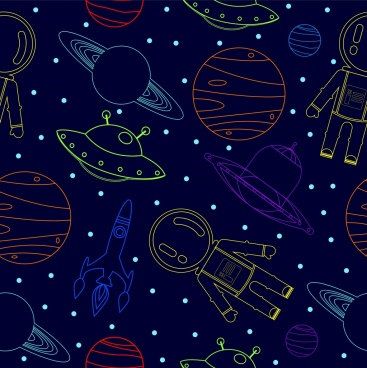 space background colored repeating icons sketch