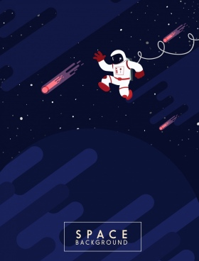 space background comets astronaut icons decor