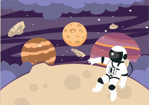 space background cosmos astronaut stars decoration colored cartoon