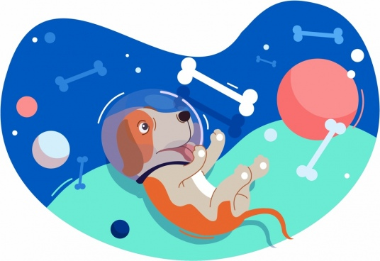 space background dog bone ball icons floating design