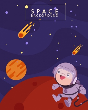 space background planets astronaut icons cartoon design