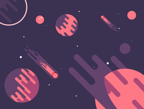 space background planets icons dark colored design