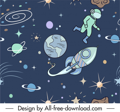 space background planets rockets astronauts sketch