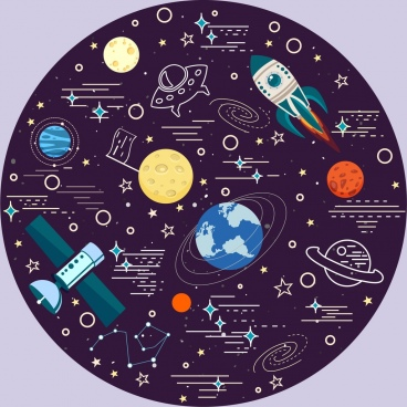 space background planets satellite icons circle layout