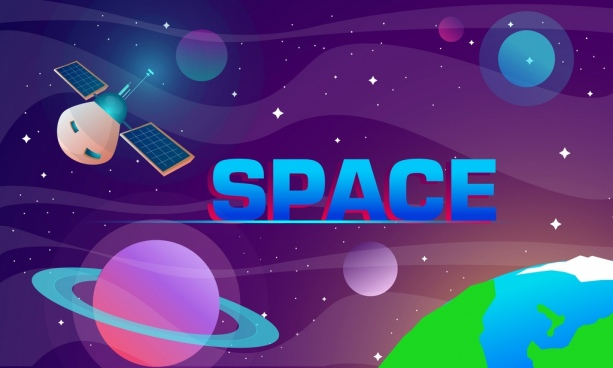 space background planets satellite icons decor
