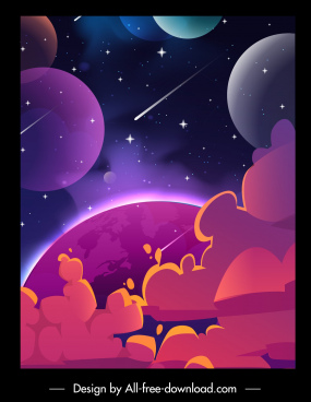 space background planets sketch dynamic design