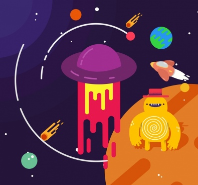 space background planets ufo spaceship monster icons
