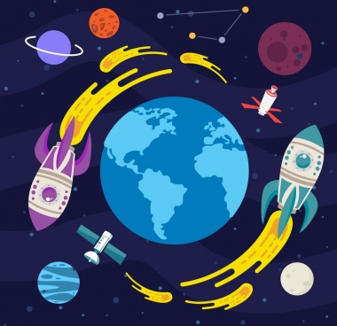 space background rockets planets icons decor