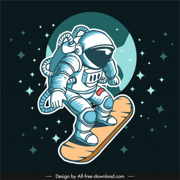 space background skateboarding astronaut icon cartoon sketch
