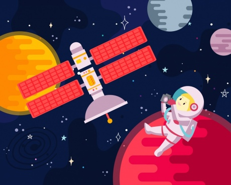 space background spaceman planets satellite icons cartoon design