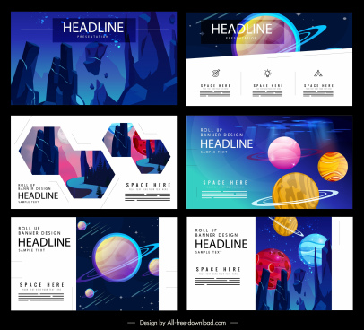 space background templates colorful modern design planets decor