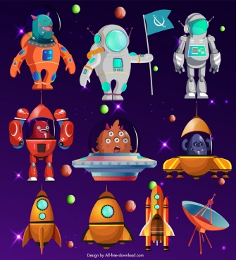 space background ufo alien astronauts satellite icons