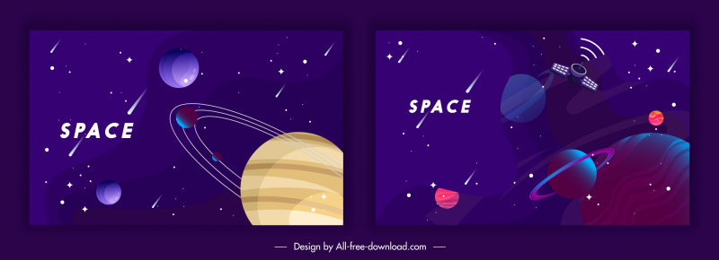 space backgrounds templates colorful dark design planets elements