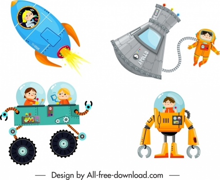 space characters icons modern design cartoon sketch