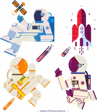 space design elements astronaut spaceship icons