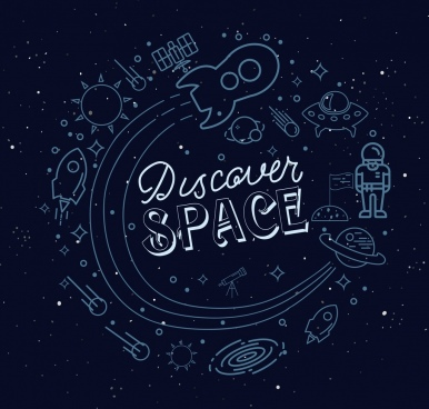 space design elements flat hand drawn sketch