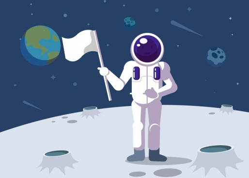 space exploration background astronaut moon flag icons