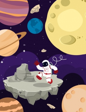 space exploration background astronaut planets icons cartoon design