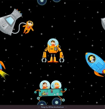 space exploration background astronauts spaceship icons cartoon characters