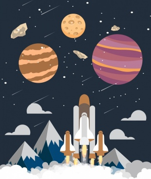 space exploration background launching ship planets icons