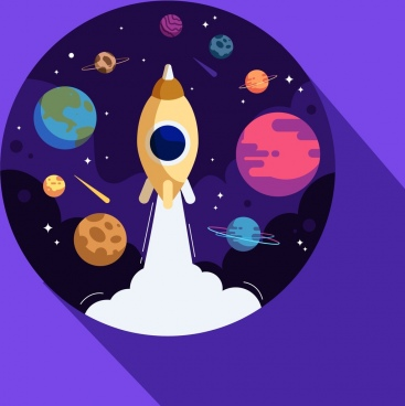 space exploration background rocket planets icons circle layout