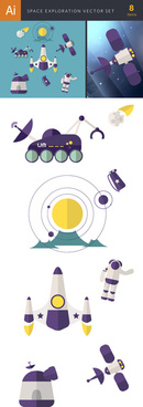 space exploration cartoon vector graphics